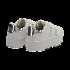 Sneakers bianche in eco-pelle con suola platform 4 cm, Scarpe, 130101010EPBIAN036, 004 preview