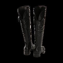 Overknee neri in pelle di vitello, tacco 3,5 cm , Stivali, 14A200150VINERO036, 003 preview