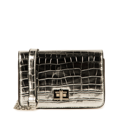 Bolso pequeño en eco-piel con estampado de cocodrilo color plateado, Primadonna, 155701124CCARGEUNI, 001a