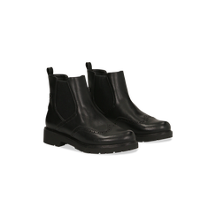 Chelsea Boots neri con lavorazione Duilio, Scarpe, 120800205EPNERO035, 002