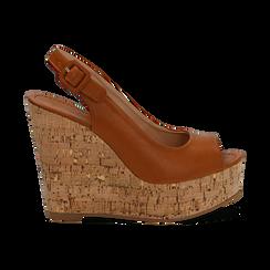 Sandali platform cuoio in eco-pelle, zeppa in sughero 12 cm , Primadonna, 134907982EPCUOI035, 001 preview