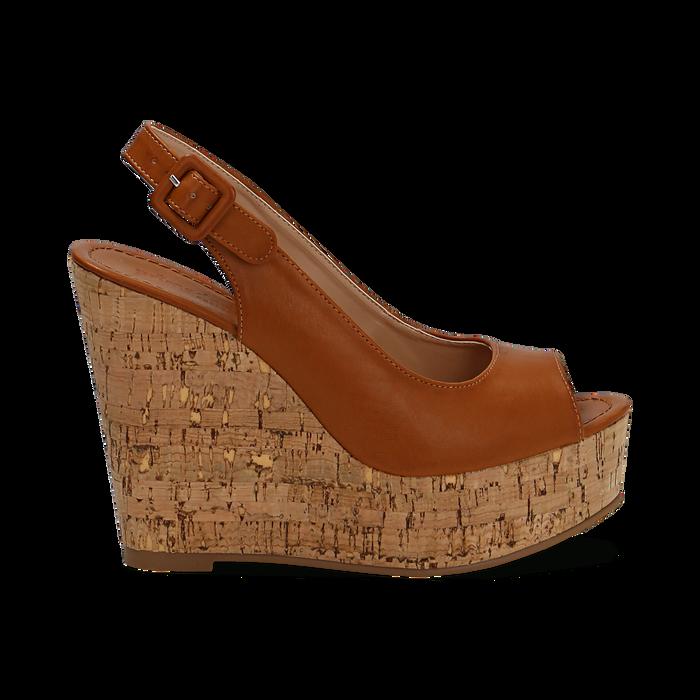 Sandali platform cuoio in eco-pelle, zeppa in sughero 12 cm , Primadonna, 134907982EPCUOI035
