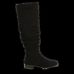 Stivali neri flat con gambale morbido, tacco 2,5 cm, 122705486MFNERO036, 001a