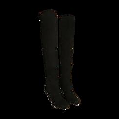 Stivali oveknee neri in microfibra, tacco 9 cm, Primadonna, 162183365MFNERO036, 002 preview