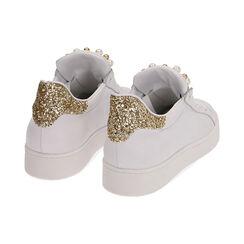 Sneakers bianche in pelle con glitter oro, Primadonna, 17L600400PEBIOR035, 004 preview