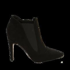 Ankle boots neri in microfibra, tacco 10,50 cm , Primadonna, 162123741MFNERO038, 001a
