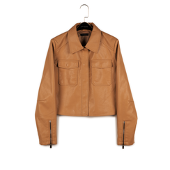 Veste courte beige en simili-cuir, Vêtements, 156516138EPBEIGM, 003 preview