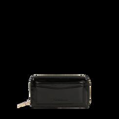 Portafoglio nero in ecopelle vernice con 10 vani, Saldi, 125709023VENEROUNI, 001a