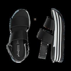Sandali platform neri in eco-pelle, Scarpe, 136700207EPNERO036, 003 preview