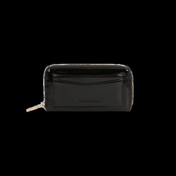 Portafoglio nero in ecopelle vernice con 10 vani, Borse, 125709023VENEROUNI