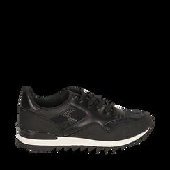 Sneakers nere in eco-pelle con dettagli snake print, Scarpe, 142600107EPNERO036, 001a