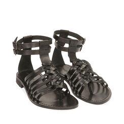 Sandales noir en cuir de vache, Primadonna, 178100651VANERO035, 002a