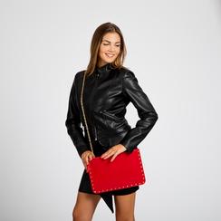 Clutch rossa in ecopelle con profilo mini-borchie, Borse, 123308330EPROSSUNI, 005 preview