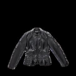 Giacca corta nera ecopelle, collo alla coreana, Abbigliamento, 126500914EPNERO, 001a preview
