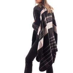 Poncho nero a righe in tessuto , Abbigliamento, 14B404071TSNEROUNI, 002 preview