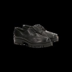 Francesine stringate nere vera pelle tacco basso, lavorazione Duilio, Scarpe, 126905551VINERO036, 002