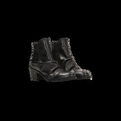 Tronchetti neri in vera pelle con punta tonda western, tacco 3 cm, Primadonna, 128900402VINERO036, 002