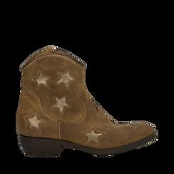 Stivaletti Camperos taupe in vero camoscio con ricamo stelle, tacco 4 cm, Primadonna, 125608094CMTAUP036, 001a