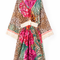 Caftano lungo leopard con maniche lunghe, Primadonna, 130500102TSLEOPUNI, 002a