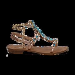 Sandali gioiello azzurro flat con tomaia rosa in laminato, Primadonna, 134921933LMROSA036, 001 preview