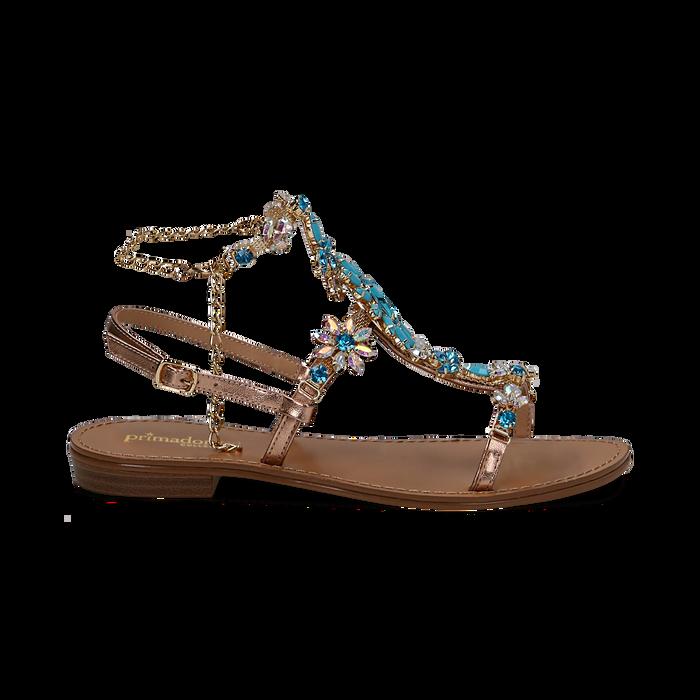 Sandali gioiello azzurro flat con tomaia rosa in laminato, Primadonna, 134921933LMROSA036