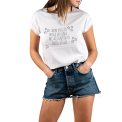 T-shirt bianca in cotone con stampa, Abbigliamento, 15I700434TSBIANL, 001a
