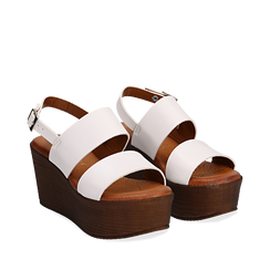 Sandali platform bianchi in eco-pelle, zeppa 8 cm, Primadonna, 136700012EPBIAN036, 002a