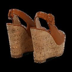 Sandali platform cuoio in eco-pelle, zeppa in sughero 12 cm , Primadonna, 134907982EPCUOI035, 004 preview