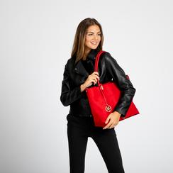 Maxi-bag a spalla rossa in microfibra scamosciata, Saldi, 125702033MFROSSUNI, 006 preview