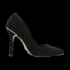 Décolleté nere con punta affusolata, tacco stiletto 11 cm, Scarpe, 122146861MFNERO, 001 preview