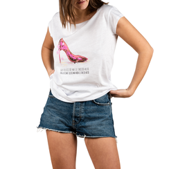 T-shirt blanc en coton avec imprimé, Vêtements, 15I700217TSBIANL, 001a