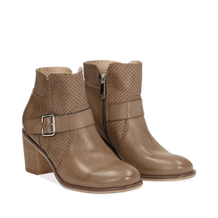 Ankle boots taupe in eco-pelle con gambale traforato, tacco 7 cm, 130682987EPTAUP035, 002a