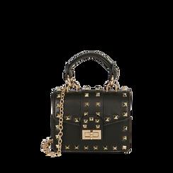 Mini bag borchiata nera , Borse, 165131451EPNEROUNI, 001a