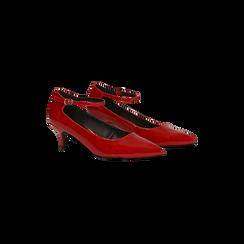 Décolleté rosse kitten heels in vernice, tacco 3 cm, Scarpe, 124951721VEROSS, 002 preview