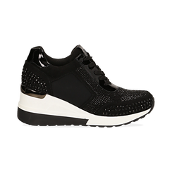 Sneakers nere in lycra con brillantini, zeppa 6 cm , Scarpe, 14A718206LYNERO035, 001 preview