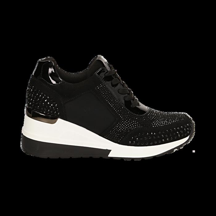 Sneakers nere in lycra con brillantini, zeppa 6 cm , Scarpe, 14A718206LYNERO035