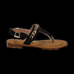 Sandali infradito neri in eco-pelle con catenella, Primadonna, 134988163EPNERO035, 001 preview