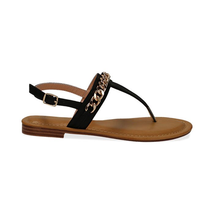 Sandali infradito neri in eco-pelle con catenella, Primadonna, 134988163EPNERO035
