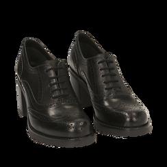 Chaussures à lacets noires en cuir, talon 7,50 cm , Primadonna, 167734407PENERO036, 002a