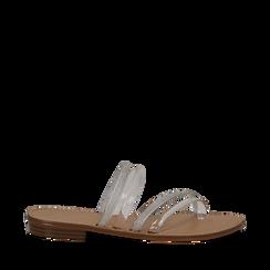 Sandali flat multilistino bianchi in pvc, Saldi Estivi, 134950613PVBIAN035, 001a