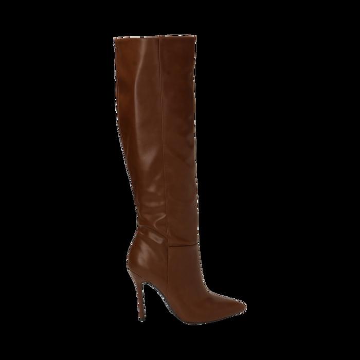 Stivali cuoio, tacco 10,50 cm , Primadonna, 162146862EPCUOI035
