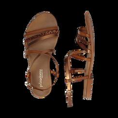 Sandali cuoio in eco-pelle, Saldi Estivi, 13B915126EPCUOI036, 003 preview