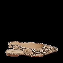 Slingback flat beige in eco-pelle snake print, Primadonna, 154918652PTBEIG035, 001a