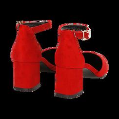 Décolleté rosse in microfibra con cinturino, tacco 6 cm  , Scarpe, 144942231MFROSS035, 006