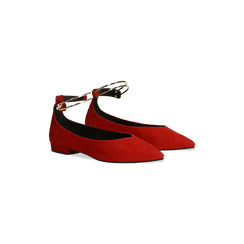 Ballerine rosse microfibra scamosciata con cavigliera e tacco basso, Primadonna, 124971303MFROSS035, 002