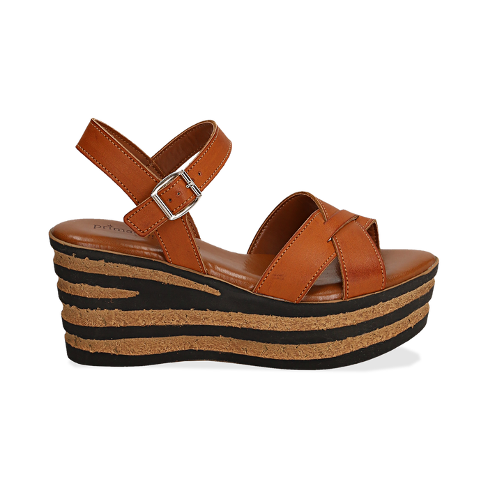 Sandali platform cuoio in eco-pelle, zeppa righe optical 8 cm , Saldi, 13A139255EPCUOI036