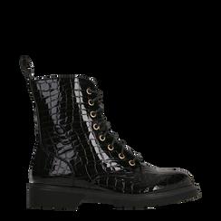Anfibi neri vernice stampa coccodrillo, tacco basso, Scarpe, 129321851VENERO036, 001a