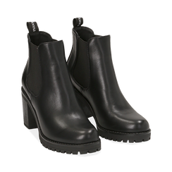 Chelsea boots neri, tacco 8 cm , PROMOZIONI, 160637851EPNERO040, 002 preview