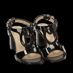 Sandali neri in vernice, tacco 6,50 cm, Scarpe, 152166341VENERO035, 002a