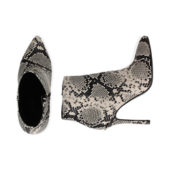 Ankle boots beige/neri effetto snake, tacco 11 cm , Stivaletti, 142182015PTBENE040, 003 preview